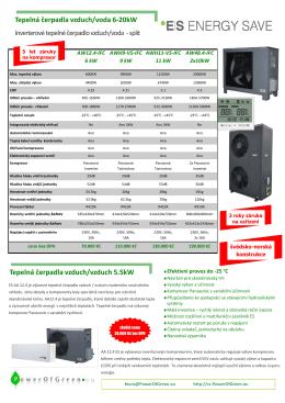 Tepelná čerpadla vzduch/voda 6-20kW Tepelná čerpadla vzduch