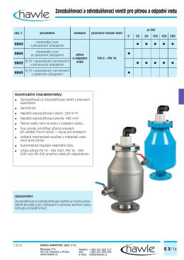 Zavzdušňovací a odvzdušňovací ventil pro pitnou a odpadní vodu