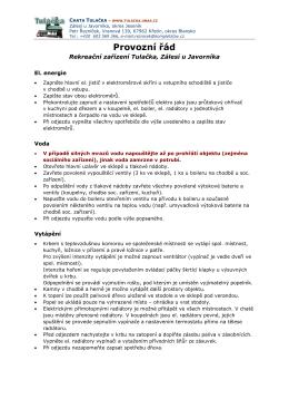 Provozní řád - Chata TULAČKA, Zálesí u Javorníka
