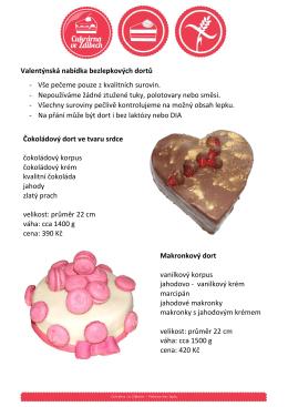 Valentýnská nabídka bezlepkových dortů