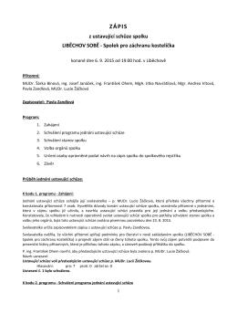 Zápis z ustavující schůze 6.9.2015