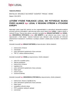 LETOŠNÍ VYDÁNÍ PUBLIKACE LEGAL 500 POTVRZUJE SILNOU