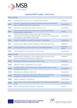 Společná SWOT analýza – finální verze Silné stránky Slabé stránky