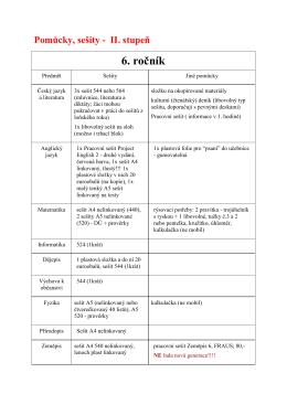 Seznam sešitů a pomůcek žáků II. stupně