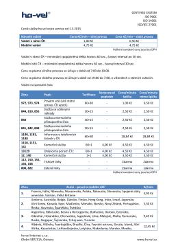 Ceník telekomunikačních služeb od 1.3.2015 - Ha