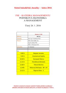 Státní bakalářské zkoušky - leden 2016