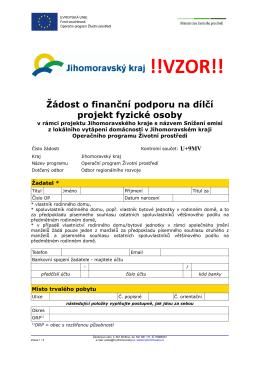 Žádost o finanční podporu na dílčí projekt fyzické osoby