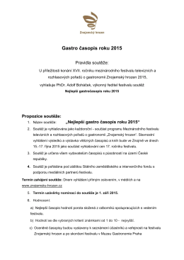 Pravidla - Gastrocasopis roku 2015