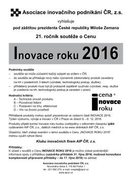 Inovace roku 2016 Inovace roku 2016