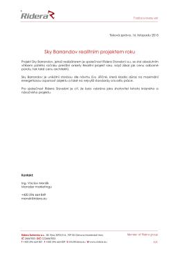 Sky Barrandov realitním projektem roku