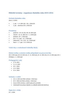 organizace školního roku 2015-16