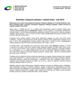 Komentář ke statistikám veřejných zakázek za 3 kvartály roku 2015