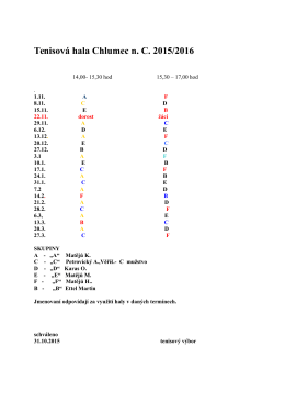 Rozpis tenisová hala 2015