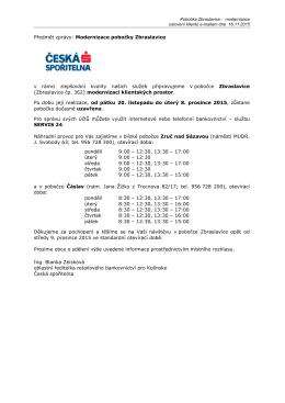 Uzavření pobočky České spořitelny Zbraslavice od 20.11.