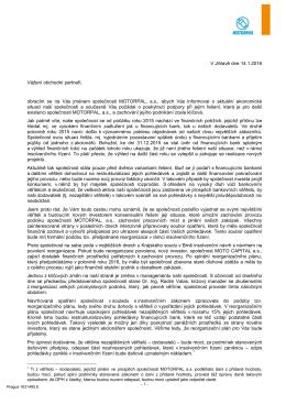 dopis věřitelům CZ