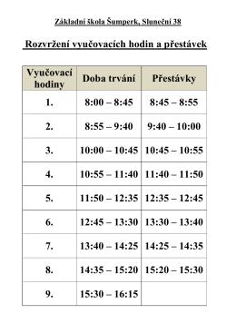 Rozvržení vyučovacích hodin a přestávek