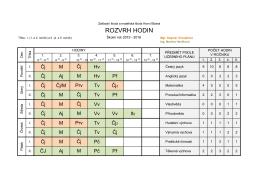 ROZVRH HODIN - Základní škola a mateřská škola Horní Blatná