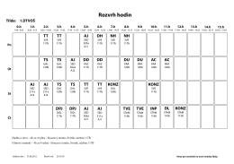 Rozvrh hodin VOŠ 2015/2016