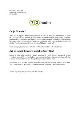 Co je 72 hodin? Jak se zapojil letos pro projektu Nový Bor?
