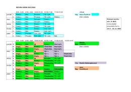 ROZVRH HODIN 2015/2016 Platnost rozvrhu: od 1. 9. 2015 mimo