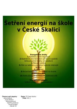 Šetření energií na škole v České Skalici