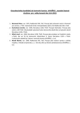 Charakteristika kandidátů do kontrolní komise JAVOŘICE , stavební
