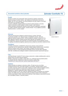 Technická specifikace Zehnder ComfoAir 70