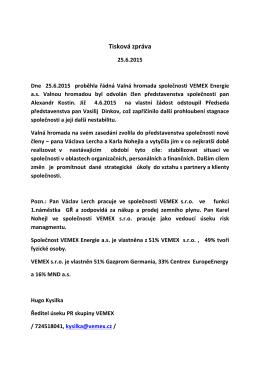 Tisková zpráva 25.6.2015