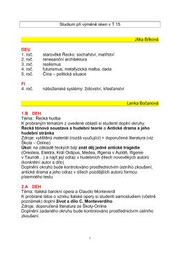 Studium při výměně oken v T 15 Jitka Bílková DEU 1. roč. starověké
