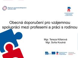 Představení obecných doporučení pro vzájemnou spolupráci mezi