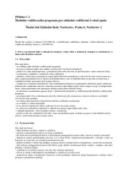 Příloha č. 2 Školního vzdělávacího programu pro