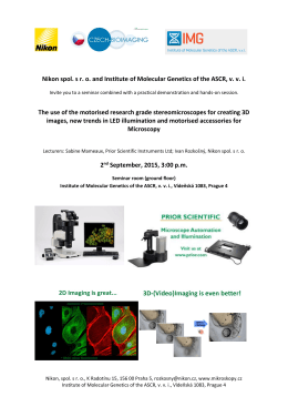 Nikon spol. s ro and Institute of Molecular Genetics of the ASCR, vvi