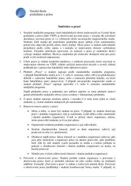 Směrnice o praxi - Vysoká škola podnikání, a.s.