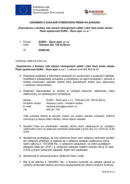 1. Firma: EURO – Šarm spol. s r.o. 2. Podrobné podklady a