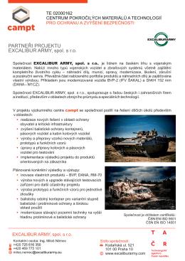 PARTNEŘI PROJEKTU EXCALIBUR ARMY, spol. s r.o.