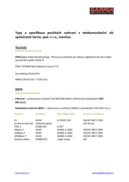 Sarria typy rozhraní dle zákon 127/2005
