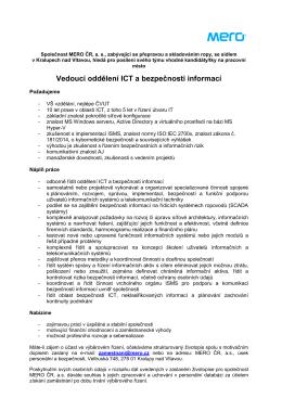 Vedoucí oddělení ICT a bezpečnosti informací