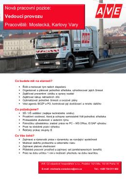 Vedoucí provozu Pracoviště: Mostecká, Karlovy Vary