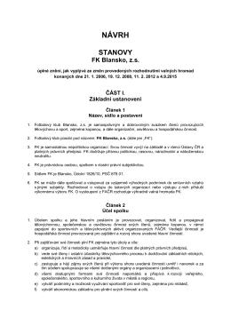 Návrh - stanovy FK Blansko, z.s.