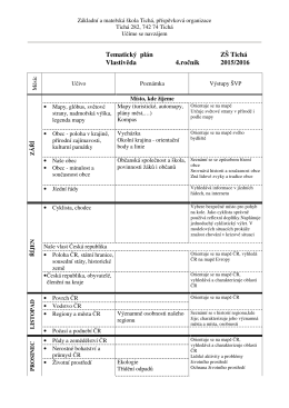 Tematický plán ZŠ Tichá Vlastivěda 4.ročník 2015/2016