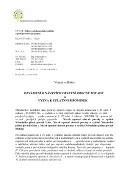 Návrh opatření obecné povahy o vydání Národního plánu povodí