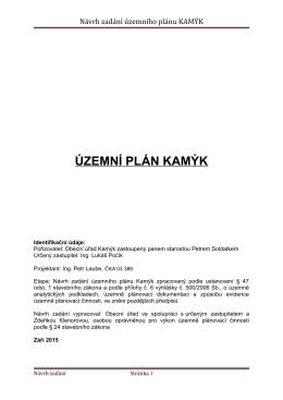 Návrh zadání územního plánu KAMÝK
