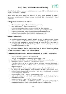 Etický kodex pracovníků Domova Potoky