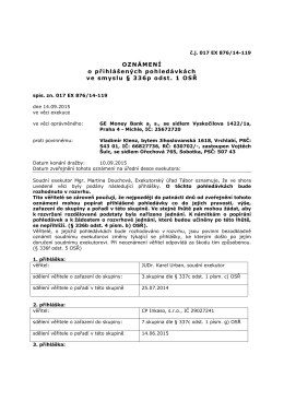 OZNÁMENÍ o přihlášených pohledávkách ve smyslu § 336p odst. 1