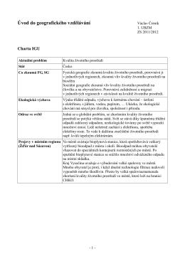 Úvod do geografického vzdělávání - charta IGU
