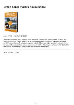 Evžen Korec vydává novou knihu