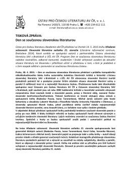 Den se současnou slovenskou literaturou