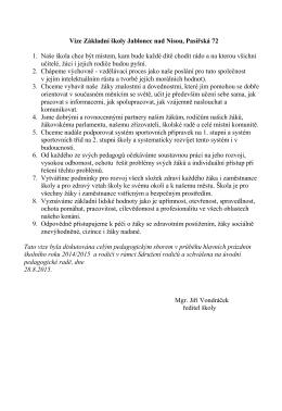 Vize Základní školy Jablonec nad Nisou, Pasířská 72 1. Naše škola