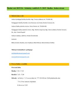 Školní rok 2015/16 - Schůzky rodičů 8. 9. 2015 školka Jeden strom
