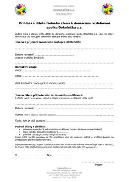 Přihláška dítěte řádného člena k domácímu vzdělávání